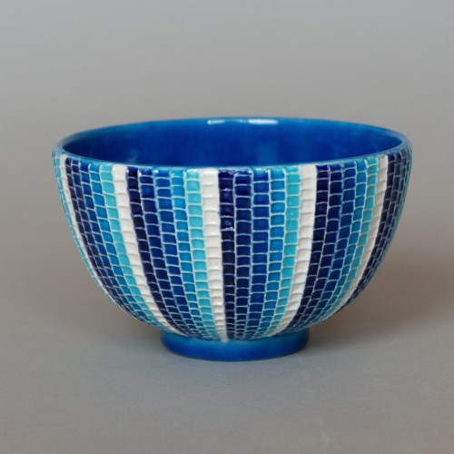 ルリ交趾モザイク茶碗 Ruri-Cochi Mosaic tea bowl