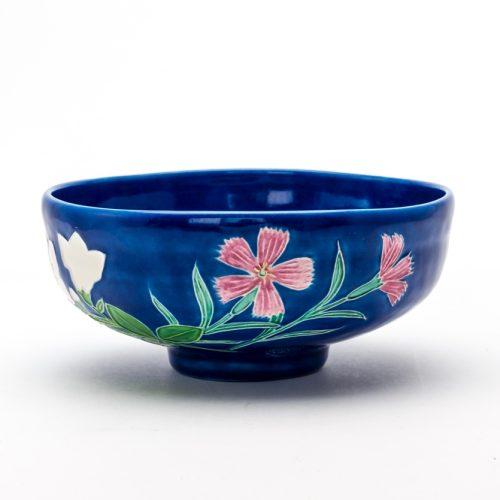 ルリ交趾秋ノ花ニ三日月茶碗『秋の声』Ruri Kōchi Aki-no-hana ni Mikazuki tea-bowl 'Aki-no-koe'