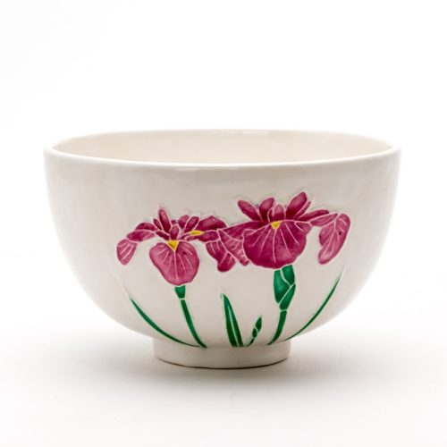 白交趾花菖蒲茶碗 『薫風』Shiro Kōchi Hana-shobu tea-bowl 'Kumpū' Balmy Breeze