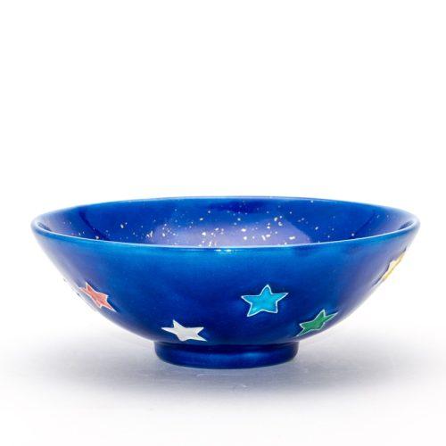 ルリ交趾星金砂子茶碗『星の歌』Ruri Kōchi Kin-sunago Hoshi tea-bowl 'Hoshi-no-uta' Song of Stars
