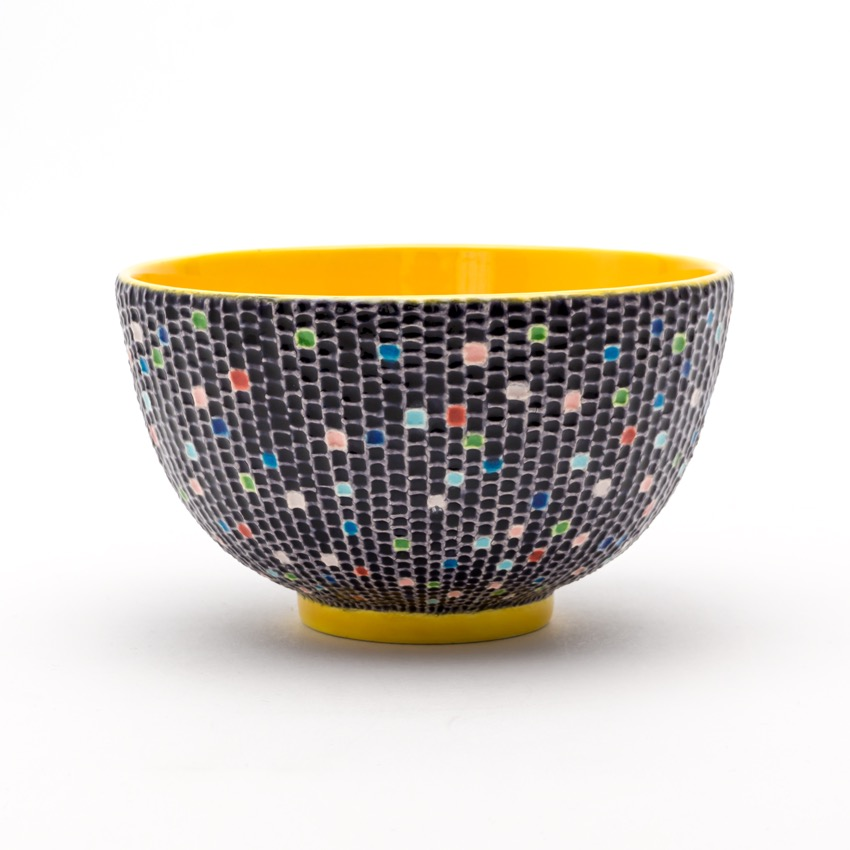 交趾モザイク茶碗 『時雨』Kōchi mosaic tea-bowl 'Shigure' Winter Rain